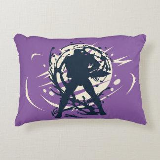 Black Japanese Ninja Warrior Fantasy Silhouette Accent Pillow