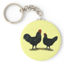 Black Java Chickens Keychain