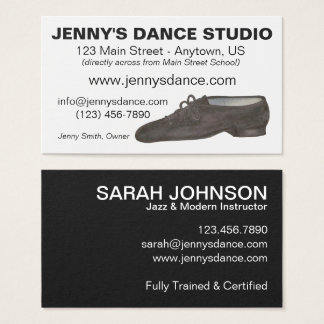 Black Jazz Dance Shoe Studio Teacher Business Card