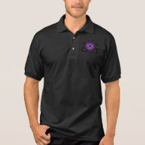 Black Jersey Polo Shirt w. Purple Digital Pattern