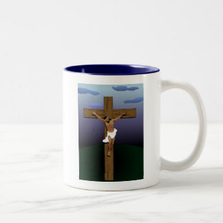 Black Jesus Christ Two-Tone Coffee Mug