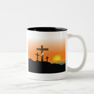 Black Jesus Christ Two-Tone Coffee Mug
