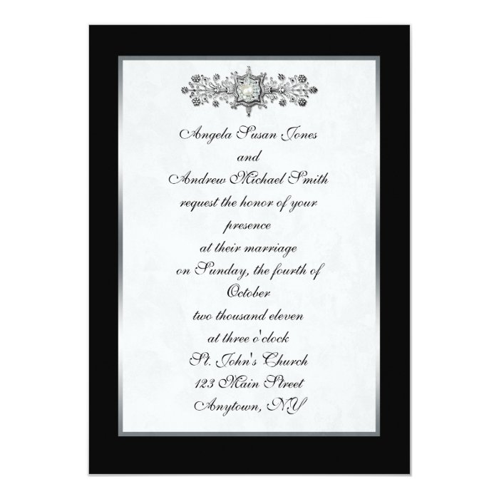 Black Jewel Wedding Invitation