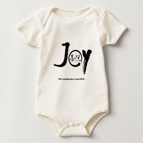 "Black joy kanji inside enso zen circle ""Joy"" Baby Bodysuit"