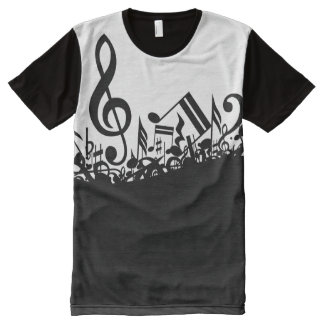 Black Jumbled Music Notes All-Over-Print T-Shirt