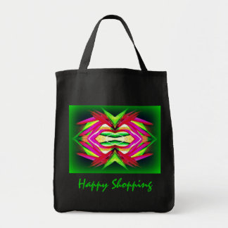 Black Jumbo Tote with Green Design Canvas Bag