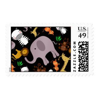 Black jungle safari animals postage stamps