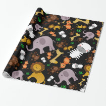 Black jungle safari animals wrapping paper
