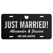 Black Just Married License Plate For Wedding Car at Zazzle