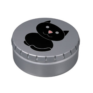 Black Kawaii Cat Jelly Belly Candy Tins