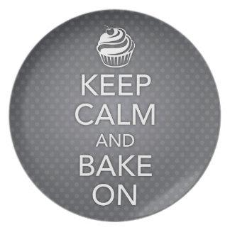 Black Keep Calm and Bake On Plate