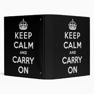 Black Keep Calm And Carry On Binder