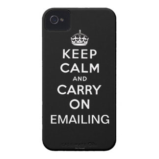 Black Keep Calm and Carry On Emailing iPhone 4 iPhone 4 Case