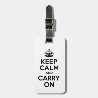 Black Keep Calm and Carry On Luggage Tag