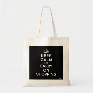 Black Keep Calm and Carry On Shopping Tote Bag