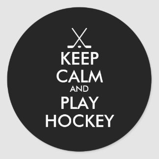 Black keep calm and play hockey stickers