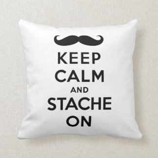 Black keep calm and stache on throw pillow