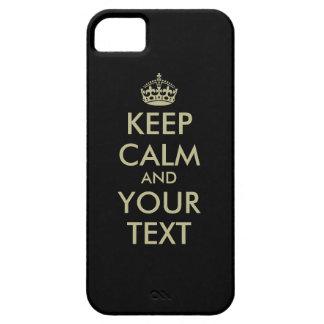Black Keep calm iPhone case | Faux gold letters