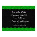 Black Kelly Green Lace Save Date Wedding 02 Postcard
