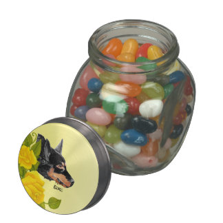 Black Kelpie and Yellow Roses Glass Candy Jars