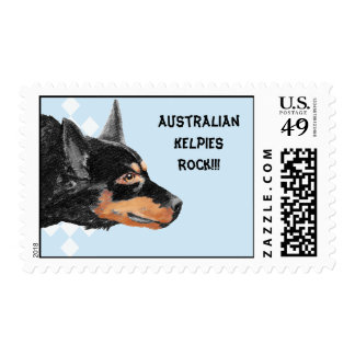 Black Kelpie Blue w/ White Diamonds Postage