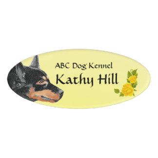 "Black Kelpie & Yellow Roses Oval Nameplate 3""X2"" Name Tag"