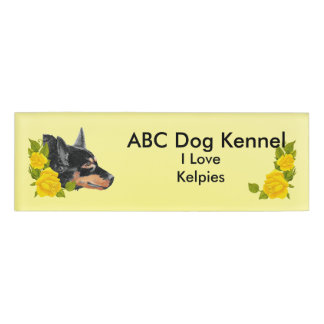 Black Kelpies and Yellow Roses Name Tag