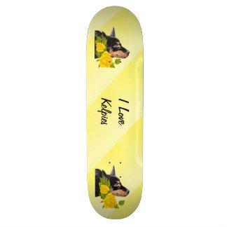 Black Kelpies and Yellow Roses Skateboard