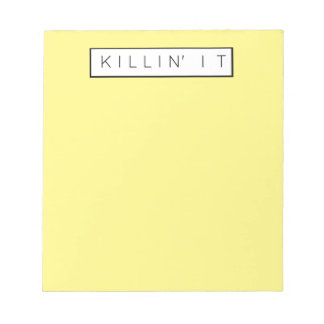 Black Killing It Letters Print Killin' It Note Pad