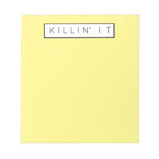 Black Killing It Letters Print Killin' It Notepad