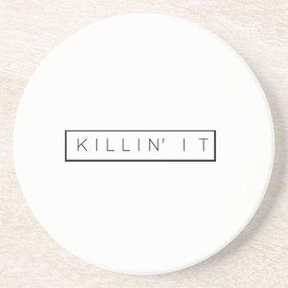 Black Killing It Letters Print Killin' It Sandstone Coaster