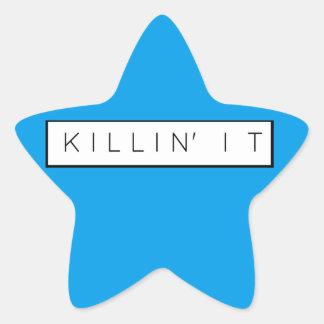 Black Killing It Letters Print Killin' It Star Sticker