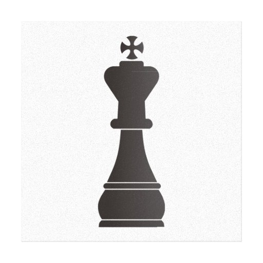 Black king chess piece gallery wrapped canvas