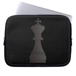 Black king chess piece laptop sleeve
