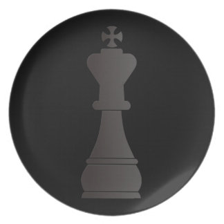 Black king chess piece melamine plate