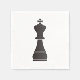 Black king chess piece paper napkin