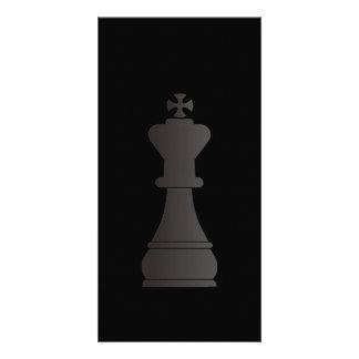 Black king chess piece photo card
