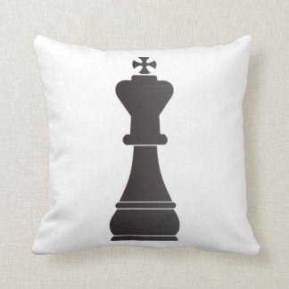 Black king chess piece throw pillows