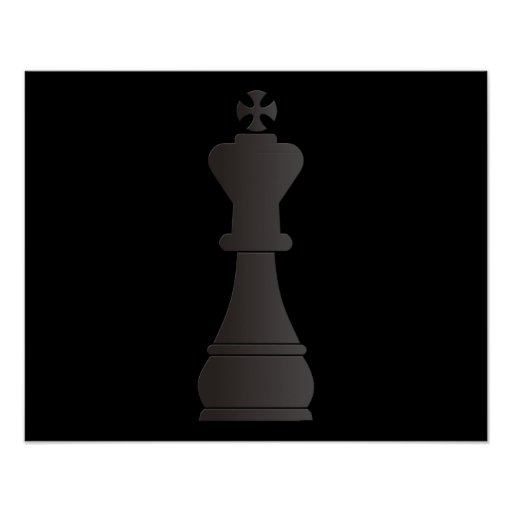 Black king chess piece poster