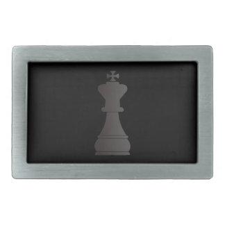 Black king chess piece rectangular belt buckle