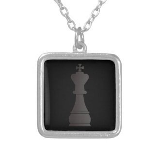 Black king chess piece silver plated necklace