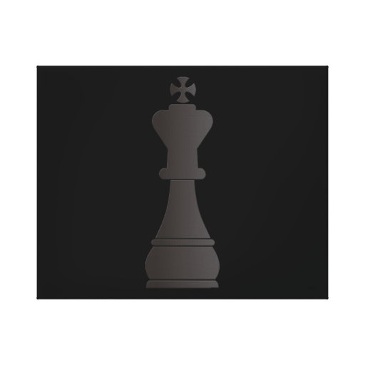 Black king chess piece stretched canvas print