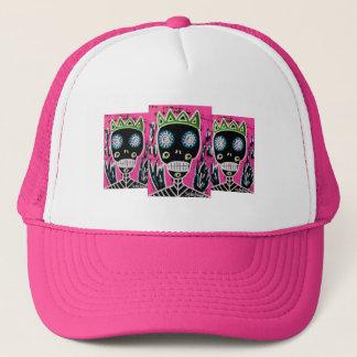 Black King Sugar Skull Angel Trucker Hat