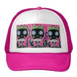 Black King Sugar Skull Angel Truker Hat - Pink