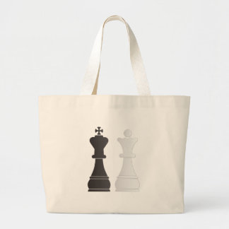 Black king white queen chess pieces jumbo tote bag