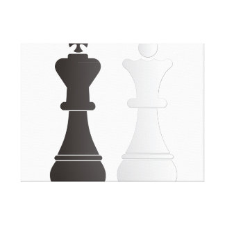 Black king white queen chess pieces canvas print