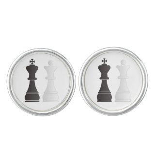 Black king white queen chess pieces cufflinks