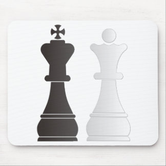 Black king white queen chess pieces mouse pad