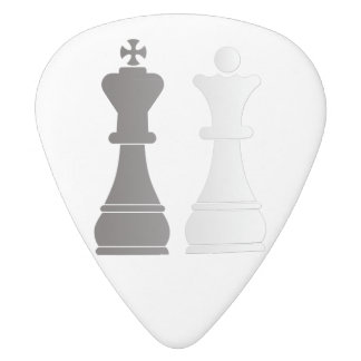 Black king white queen chess pieces white delrin guitar pick