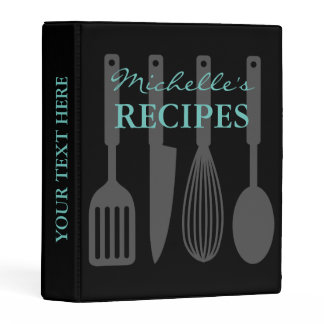 Black kitchen utensils mini recipe binder book